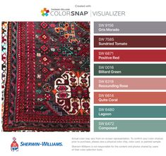 I found these colors with ColorSnap® Visualizer for iPhone by Sherwin-Williams: Gris Morado (SW 9156), Sundried Tomato (SW 7585), Positive Red (SW 6871), Billiard Green (SW 0016), Resounding Rose (SW 6318), Quite Coral (SW 6614), Lagoon (SW 6480), Composed (SW 6472).