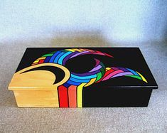 Items similar to unique rainbow color jewelry box rad gift box for dad signed creation home decor office decor office gift unique gift christmas gift on etsy - Painted Keepsake Box Art object Rainbow colors by IshiGallery - Painted Wooden Boxes, Wood Boxes, Hand Painted, Wooden Box Crafts, Office Gifts, Office Decor, Articles En Bois, Art Object, Keepsake Boxes