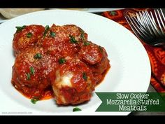 Mozzarella Stuffed Slow Cooker Meatballs RECIPE: Cut low moisture mozzarella cheese into 3/4 inch cubes cubes. Store in refrigerator while preparing the meat...