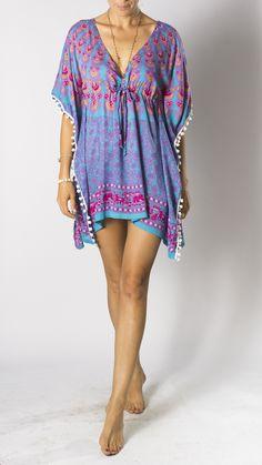 2812722006 Pom Tunic Dress in Turquoise Blue Pink Purple Peacock, Women's tunic dress,  Tunic top for women, Bohemian tunic, tunic beach cover up. Bali Prema
