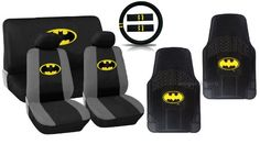 13pc Batman Car Seat Cover Gift Set - Complete Interior - Classic Yellow Logo Now with Premium Waterproof Rubber Floor Mats - Seat Covers St...