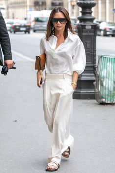 Victoria Beckham White Outfit in Paris July 2018