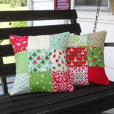 Your place to buy and sell all things handmade : Quilted Christmas Pillow Cover Pair 14 Inch MODA by QuiltFinger Christmas Patchwork, Christmas Cushions, Christmas Pillow Covers, Christmas Sewing, Christmas Projects, Christmas Crafts, Christmas Decorations, Christmas Quilting, Patchwork Pillow