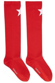 Givenchy - Star-intarsia Knitted Socks - Red - XS