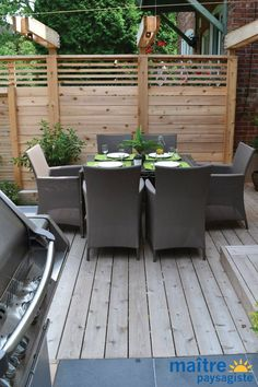 Furniture Haul Away Privacy Wall On Deck, Privacy Fence Designs, Patio Wall, Fence Landscaping, Backyard Fences, Wood Fence Design, Patio Design, Patio Pergola, Fence Styles