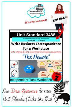 Unit Standard 3488 Write Business Correspondence for a workplace is in store. An editable task workbook, this can be shared digitally or printed as hard copy. Students are scaffolded through to success for 2 of 4 writing pieces required for this standard in a workplace scenario based around a new employee. This is the latest level 2 unit standard in my collection. Unit standards are fantastic for alternative English programmes or your ESL students. Sentence Construction, Literacy Strategies, Business Correspondence, English Language Learners, Email Templates, Home Schooling, Communication Skills, Student Learning, Life Skills