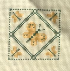 Vintage Finished Needlepoint Sampler Butterflies Butterfly Home Decor Green Yellow 5 x 5 inch Quilt Block Completed Frameable Wall Art 1980s