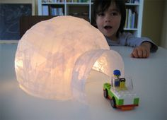 Vellum Paper Mache Igloo by Jennifer Kirk.I'm thinking vellum paper mache could have other uses. Diy Crafts For Kids, Projects For Kids, Fun Crafts, Arts And Crafts, Diy Projects, Craft Kids, Paper Mache Crafts For Kids, Paper Mache Diy, Diy Paper
