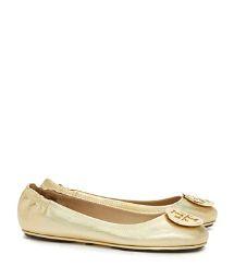 Tory Burch Minnie Travel Ballet Flat With Logo, Metallic Leather : Women's Flats