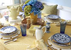 An Accomplished Woman: Navy and Yellow Table