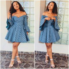 Blue off shoulder African Print Ankara Dashiki Seshoeshoe Seshweshwe Dress - African Fashion Dresses - 2019 Trends African Fashion Designers, African Fashion Ankara, Latest African Fashion Dresses, African Dresses For Women, African Print Dresses, African Print Fashion, Africa Fashion, African Attire, African Women