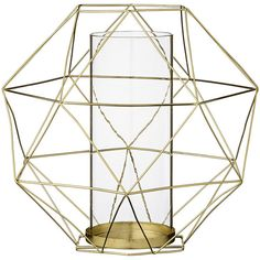 Bloomingville Metal Christmas Lantern with Glass Insert - Gold (53 CAD) ❤ liked on Polyvore featuring home, home decor, candles & candleholders, metallic, gold candles, christmas candles, metal home decor, christmas centerpieces and geometric home decor