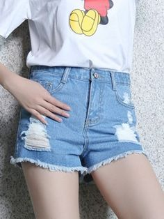 Blue Light Washed Ripped High Waist Shorts