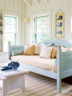 A day bed looks a little bit like a deep couch and they are popular choices for guest rooms that double as sitting rooms or office spaces. They provide a comfortable surface for lounging upon by day, but also convert easily into a restful place each night.