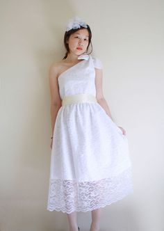 Pretty Me White Lace Tea Length Wedding Dress by Nostalgia on Etsy, $350.00    maybe without all the lace hanging over at the bottom?
