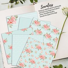 Shabby Chic Digital Paper SHABBY LACE TEAL by DigitalStories