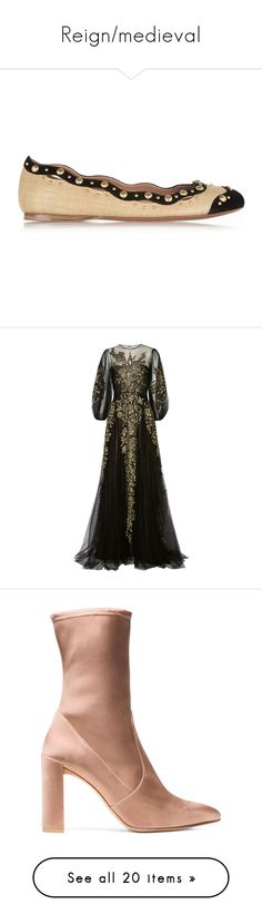 """""""Reign/medieval"""" by mariaabney ❤ liked on Polyvore featuring shoes, flats, neutral, ballet flats, slip on flats, ballerina pumps, cutout flats, studded ballet flats, dresses and gowns"""