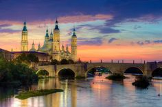 Basilica Of Our Lady Of The Pillar And The Ebro River, Zaragoza - OGQ Backgrounds HD