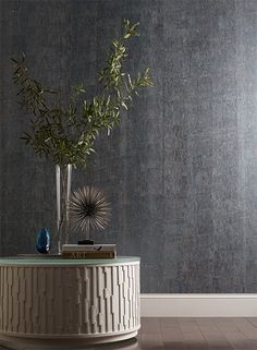 Candice Olson does cork with a metallic wash. gunmetal blue silver natural metallic  #yorkwallcoverings