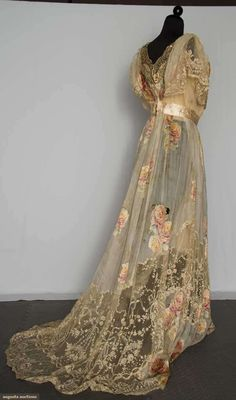 """Belle Epoch Gown: """"one piece cream silk chiffon w/ pale printed & flocked rose blossom - Google Search"""