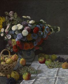 """Still Life with Flowers and Fruit,"" Claude Monet, 1869. Although painted in his studio, this still life shows the influence of the outdoor experiments that Claude Monet undertook in the summer and fall of 1869, while he was living at Bougival on the Seine River"