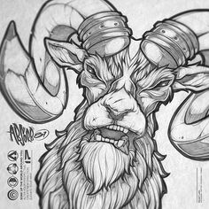 Revisiting a design I had done a few years back. #ram #illustration #hunting #tattoo #apparel #print #pencil #sketch