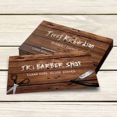 Rustic Country Barber Shop Scissors and Razor Business Card Template
