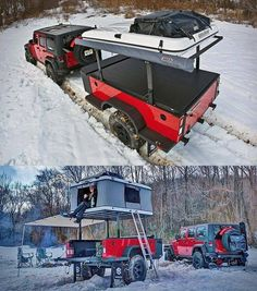 Jeep with Off road trailer Jeep Jk, Jeep Wrangler, Jeep Truck, Jeep Camping, Off Road Camping, 4x4 Off Road, Camping Ideas, Outdoor Camping, Jeep Carros