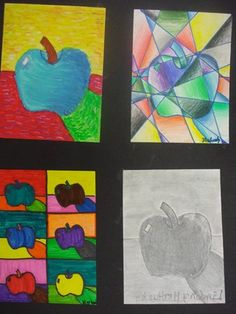 Artist study...Students studied four different artists: Da Vinci, Picasso, Van Gogh, and Warhol. They were asked to draw a contour line drawing of one piece of fruit of their choice. Once the drawing was completed they created four works of art representing the four artists. Ask your child about each artist, they should be able to tell you about each of them in detail.