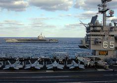 USS Enterprise (CVN-65) alongside USS Dwight D. Eisenhower (CVN-69) November 2005