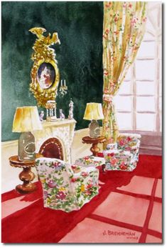 Victorian Writing Room at the Greenbriar.  Designed by Dorothy Draper, and now Carlton Varney.   watercolor by Jeanne Brenneman