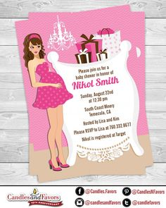 Modern Mommy It's A Girl - Baby Shower Invitation  - Caucasian or African American Professionally printed *or* DIY printable PDF