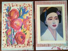 Geisha Girl and Roses - 2 Large photo art card of original art by Trish Vernazza by VisionsofVenus on Etsy