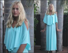 Vintage 70s Angelic Batwing Gown Maxi Dress XS by Sweetiesvintage