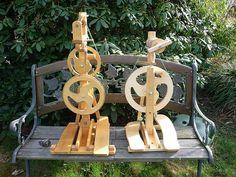 Unusual wheels, loving the double flywheel wheel especially! #spinning #spinningwheels