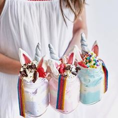 DIY Unicorn Milkshakes Starting the long weekend with the dreamiest milkshakes! ☁️ Which one would you pick? Had the best time making these babies with my girl @ironchefshellie ❤️#unicornparty
