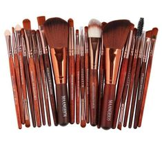 'Sleek and Savy' Pro 22Pcs Wood Makeup Brushes Set