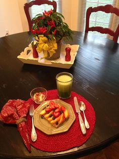 Hearty Sprouted Wheat toast, with natural peanut butter, topped with fresh fruit. Green Kale smoothie, honey yogurt & almonds!