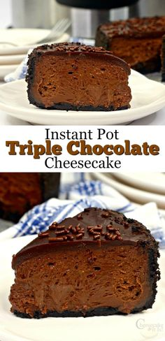 Chocolate lovers will have their day made with this delicious Triple Chocolate Cheesecake! And, this yummy delight is super easy to make in the Instant Pot! Quick Easy Desserts, Homemade Desserts, Best Dessert Recipes, Fun Desserts, Sweet Recipes, Delicious Desserts, Instant Pot Cheesecake Recipe, Best Cheesecake, Best Instant Pot Recipe