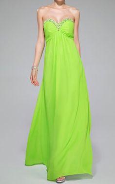 Lime Green Empire Sweetheart Floor Length Chiffon Evening Dress Ruffle Beading Sequins Harry Dress HD41062