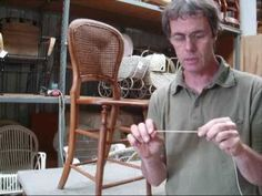 Chair Caning How To Pt 1.  You can do this!  Don't ruin an old chair by nailing on a seat when the cane needs repair, just replace the cane yourself.