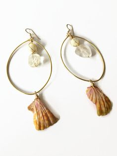 Sunrise Shell Hoop Earrings with Mother of Pearl Bead, Citrine Nuggets, and Gold Filled French Hooks by JulemiJewelry, $35.00