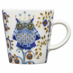 Showcasing an artful owl motif, this porcelain espresso cup adds folk-art flare to your favorite artisan roast.