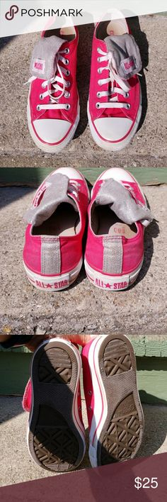 Converse All Stars Bright pink Converse All Stars with silver tongue. Tongue folds over and snaps off to side. US size 8. Some light wear, marks.  One tiny pinhole/fraying area. So cute! Converse Shoes Sneakers
