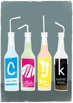 CMYK bottles Art Print via society6