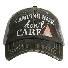 Camping Hair Don't Care Katydid Women's Trucker Hat. #camping #fashion #travel #adventure #apparel