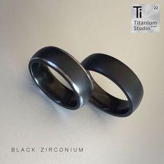 Black Zirconium men's rings. Matte black finish with polished sides. Black Titanium Wedding Bands, Black Wedding Rings, Titanium Rings, Wedding Ring For Her, Wedding Band Sets, Jaco, Matte Black, Black Men, Rings For Men