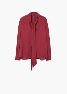Bluse mit schleifenkragen | MANGO