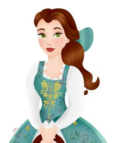 Belle in her new and beautiful aqua green dress