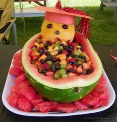 years later - Graduation party fruit bowl platter watermelon basket [w/directions for constructing a Watermelon Basket] Source by . Graduation Party Planning, Graduation Party Foods, College Graduation Parties, Graduation Celebration, Grad Parties, Graduation Ideas, Graduation 2015, Cakes For Graduation, Graduation Gifts